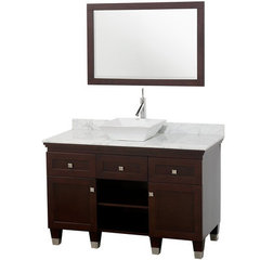Buy Wyndham Collection Premiere 48 Inch White Carrera Marble Top Single Sink Vanity Set in Espresso on sale online