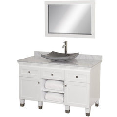 Buy Wyndham Collection Premiere 48 Inch White Carrera Marble Top Single Sink Vanity Set in White on sale online