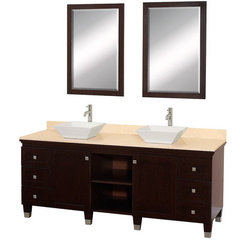 Buy Wyndham Collection Premiere 72 Inch Ivory Marble Top Double Sink Vanity Set in Espresso on sale online