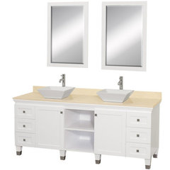 Buy Wyndham Collection Premiere 72 Inch Ivory Marble Top Double Sink Vanity Set in White on sale online