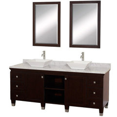 Buy Wyndham Collection Premiere 72 Inch White Carrera Marble Top Double Sink Vanity Set in Espresso on sale online