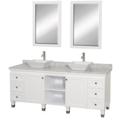 Buy Wyndham Collection Premiere 72 Inch White Carrera Marble Top Double Sink Vanity Set in White on sale online