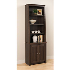 Buy Prepac Tall Slant-Back Bookcase w/ 2 Shaker Doors in Espresso on sale online