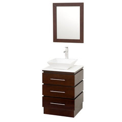 Buy Wyndham Collection Rioni 22.25 Inch White Stone Top Single Sink Vanity Set on sale online