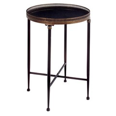 Buy Round Metal 18 Inch Round Accent Table in Black on sale online