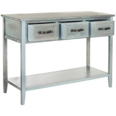 Buy Safavieh Aiden 42x15 Console Table in Distressed Pale Blue/ White on sale online