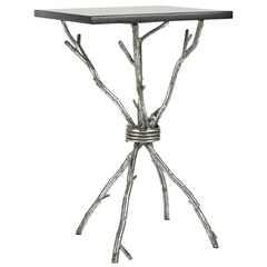 Buy Safavieh Alexa 14x14 Square Accent Table in Black & Silver Legs on sale online