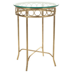 Buy Safavieh Asa 18x18 Round Accent Table in Clear & Gold Legs on sale online