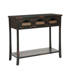 Buy Safavieh Autumn 3 Drawer 34x14 Console in Distressed Black on sale online