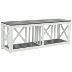 Buy Safavieh Branco Bench in White Frame & Ash Grey Seat on sale online