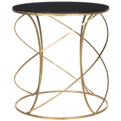 Buy Safavieh Cagney 20x20 Round Accent Table in Gold w/Black Glass Top on sale online