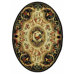 Buy Safavieh Chelsea Country Oval Rug in Ivory, Black - HK48K on sale online