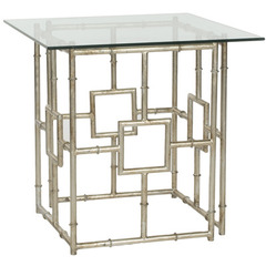 Buy Safavieh Dermot 22x22 Square Accent Table in Silver w/Clear Glass Top on sale online