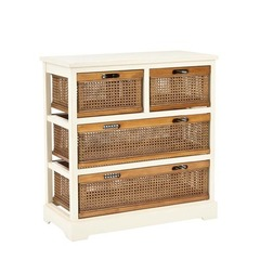 Buy Safavieh Jackson 4 Drawer Storage Unit in White & Cane Drawers on sale online