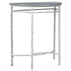 Buy Safavieh Livana 27x13 Demilune Console in Distressed Pale Blue & White on sale online