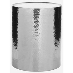 Buy Polonium 17 Inch Round Occasional Hammered Table in Silver on sale online