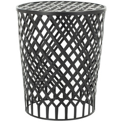Buy Safavieh Thor Welded Iron Strips Stool in Black Epoxy on sale online