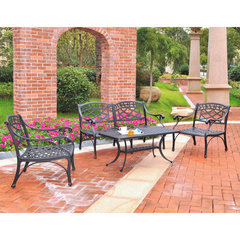 Buy Crosley Furniture Sedona 4 Piece Aluminum Outdoor Seating Set - Loveseat, 2 Club Chairs & Cocktail Table in Black on sale online