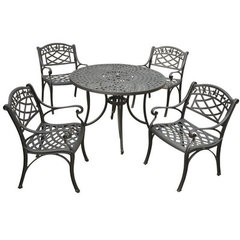 Buy Crosley Furniture Sedona 42 Inch 5 Piece Aluminum Outdoor Dining Set w/ Arm Chairs in Black on sale online