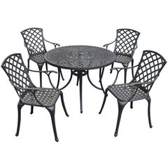 Buy Crosley Furniture Sedona 42 Inch 5 Piece Aluminum Outdoor Dining Set w/ High Back Arm Chairs in Black on sale online