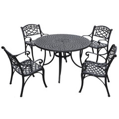 Buy Crosley Furniture Sedona 48 Inch 5 Piece Aluminum Outdoor Dining Set w/ Arm Chairs in Black on sale online