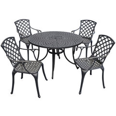Buy Crosley Furniture Sedona 48 Inch 5 Piece Aluminum Outdoor Dining Set w/ High Back Arm Chairs in Black on sale online