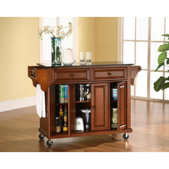 Buy Crosley Furniture 52x18 Solid Black Granite Top Kitchen Cart/Island in Classic Cherry on sale online