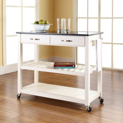Buy Crosley Furniture Solid Black Granite Top Kitchen Cart/Island w/ Optional Stool Storage in White on sale online