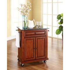 Buy Crosley Furniture 28x18 Solid Black Granite Top Portable Kitchen Cart/Island in Classic Cherry on sale online