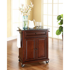 Buy Crosley Furniture 28x18 Solid Black Granite Top Portable Kitchen Cart/Island in Vintage Mahogany on sale online