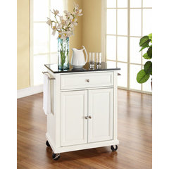 Buy Crosley Furniture 28x18 Solid Black Granite Top Portable Kitchen Cart/Island in White on sale online