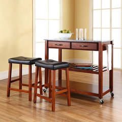 Buy Crosley Furniture 42x18 Solid Granite Top Kitchen Cart/Island w/ 24 Inch Cherry Upholstered Saddle Stools on sale online