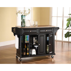 Buy Crosley Furniture 52x18 Stainless Steel Top Kitchen Cart/Island in Black on sale online