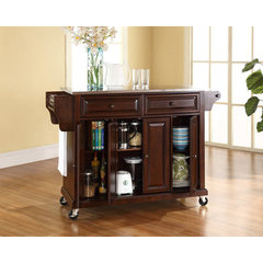 Buy Crosley Furniture 52x18 Stainless Steel Top Kitchen Cart/Island in Vintage Mahogany on sale online