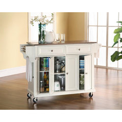Buy Crosley Furniture 52x18 Stainless Steel Top Kitchen Cart/Island in White on sale online