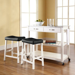 Buy Crosley Furniture 42x18 Stainless Steel Top Kitchen Cart/Island w/ 24 Inch White Upholstered Saddle Stools on sale online