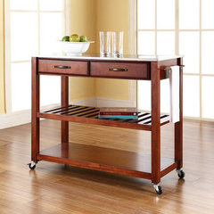 Buy Crosley Furniture Stainless Steel Top Kitchen Cart/Island w/ Optional Stool Storage in Classic Cherry on sale online