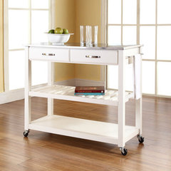 Buy Crosley Furniture 42x18 Stainless Steel Top Kitchen Cart/Island w/ Optional Stool Storage in White on sale online