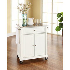 Buy Crosley Furniture 28x18 Stainless Steel Top Portable Kitchen Cart/Island in White on sale online