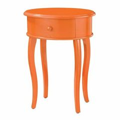Buy Sterling Industries 18x14 Oval Accent Table In Orange w/ Drawer on sale online