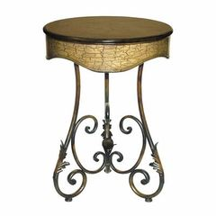 Buy Sterling Industries 22x22 Round Side Table w/ Curled Leaf in Brown and Gold on sale online