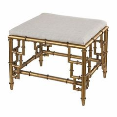 Buy Sterling Industries 22x16 Bench w/ Bamboo Frame and Linen Seat in Gold Leaf on sale online