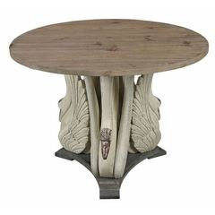 Buy Sterling Industries Baywood 40x40 Round Swan Accent Table w/ Wooden Top on sale online