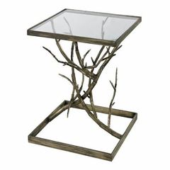 Buy Sterling Industries Blackened 18x18 Square Side Table in Silver Branch on sale online