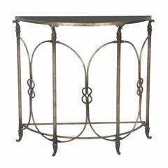 Buy Sterling Industries Bordeaux 38x15 Demilune Table in Antique Bronze and Black on sale online