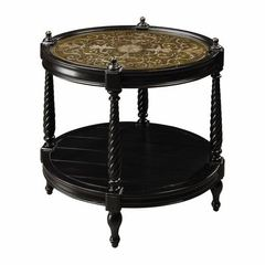 Buy Sterling Industries Caswell 27x21 Oval Accent Table in Black, Gold on sale online