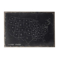 Buy Sterling Industries Chalk Outline Map Of Usa 48x34 Rectangular On Black Canvass on sale online