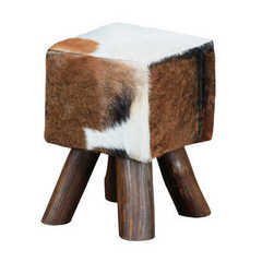 Buy Sterling Industries Ilford 18 Inch Small Square Stool in White and Medium Wood on sale online