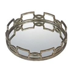 Buy Sterling Industries Iron Scroll Mirrored Tray in Antique Silver on sale online