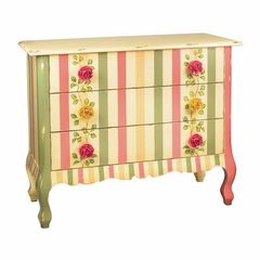Buy Sterling Industries Rose Chest w/ 3 Drawers in Pink, Green and Cream on sale online
